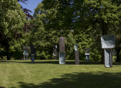 Barbara Hepworth, The Family of Man, 1970. Lent by the Hepworth Estate. ©Bowness, Hepworth Estate. Courtesy Yorkshire Sculpture Park. Photo © Jonty Wilde